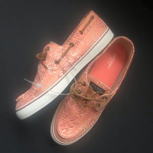 Sperry Womens Boat Loafer Flat Shoes Peachy Print